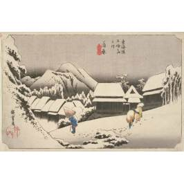 Posters Obraz, Reprodukce - Evening Snow at Kambara, No.16 from 'The 53 Stations of the Tokaido', pub. by Hoeido, 1833,, Ando or Utagawa Hiroshige