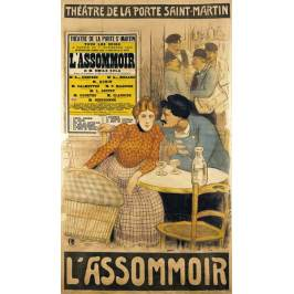 Posters Obraz, Reprodukce - Poster advertising 'L'Assommoir' by M.M.W. Busnach and O. Gastineau at the Porte Saint-Martin Theatre, 1900, Theophile Alexandre Steinlen